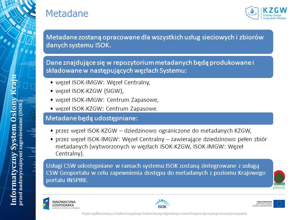 Metadane Metadane zostaną opracowane dla wszystkich usług sieciowych i zbiorów danych systemu ISOK. Dane znajdujące się w repozytorium metadanych będą