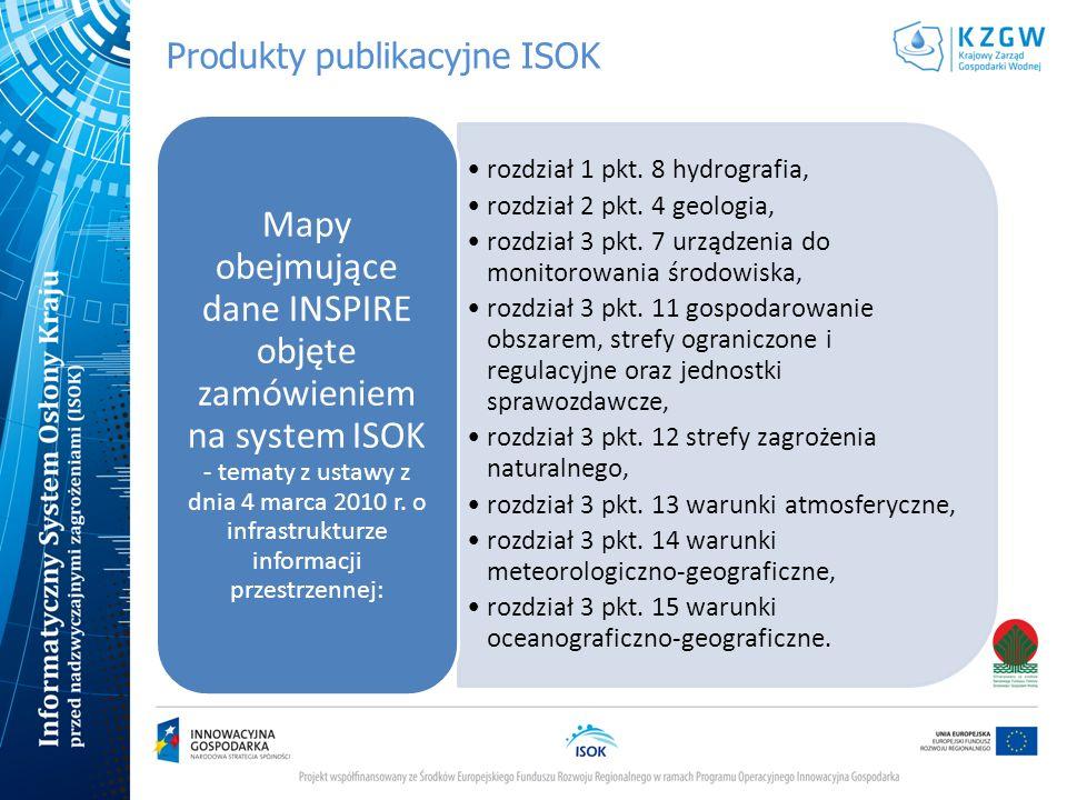 Produkty publikacyjne ISOK rozdział 1 pkt. 8 hydrografia, rozdział 2 pkt. 4 geologia, rozdział 3 pkt. 7 urządzenia do monitorowania środowiska, rozdzi
