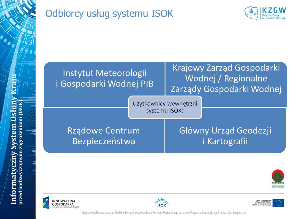 Odbiorcy usług systemu ISOK Użytkownicy zewnętrzni systemu ISOK: użytkownicy na poziomie administracji centralnej, użytkownicy resortowi (np.