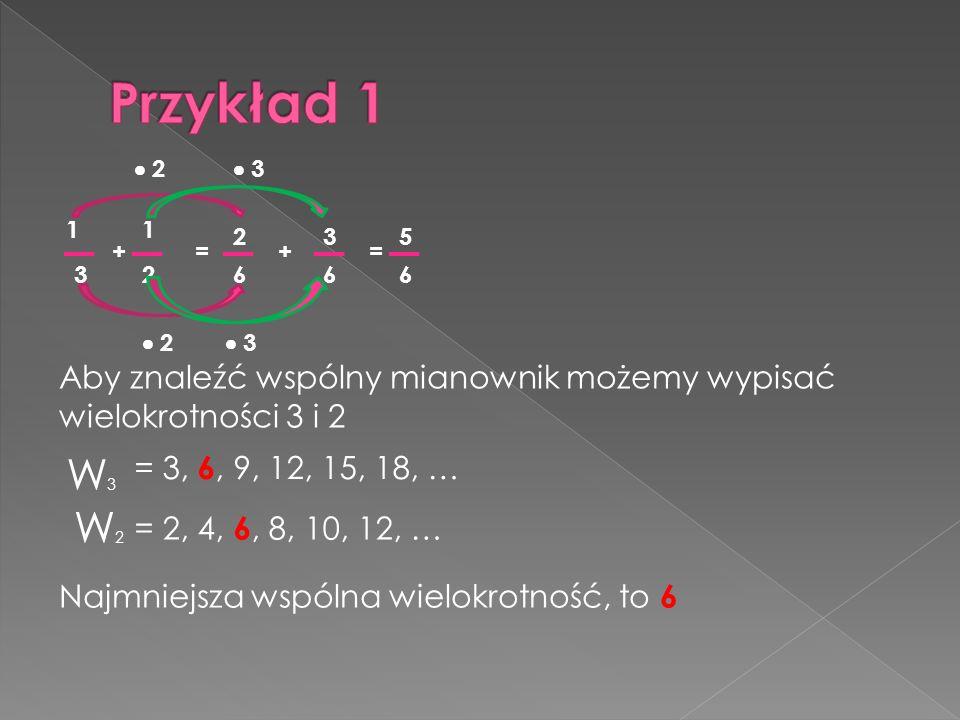 3 2 3 1 5 + 3 4 = 20 4 + 15 20 2 = 5 19 4 4 5 5 Aby znaleźć wspólny mianownik możemy wypisać wielokrotności 5 i 4.