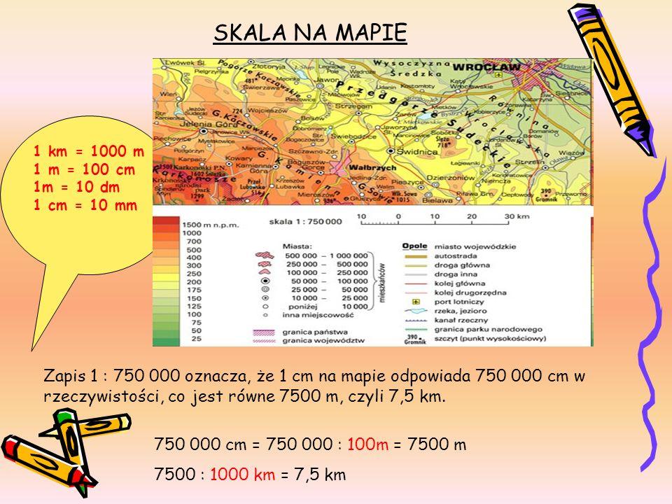 SKALA NA MAPIE 1 : 750 000 Zapis 1 : 750 000 oznacza, że 1 cm na mapie odpowiada 750 000 cm w rzeczywistości, co jest równe 7500 m, czyli 7,5 km. 750