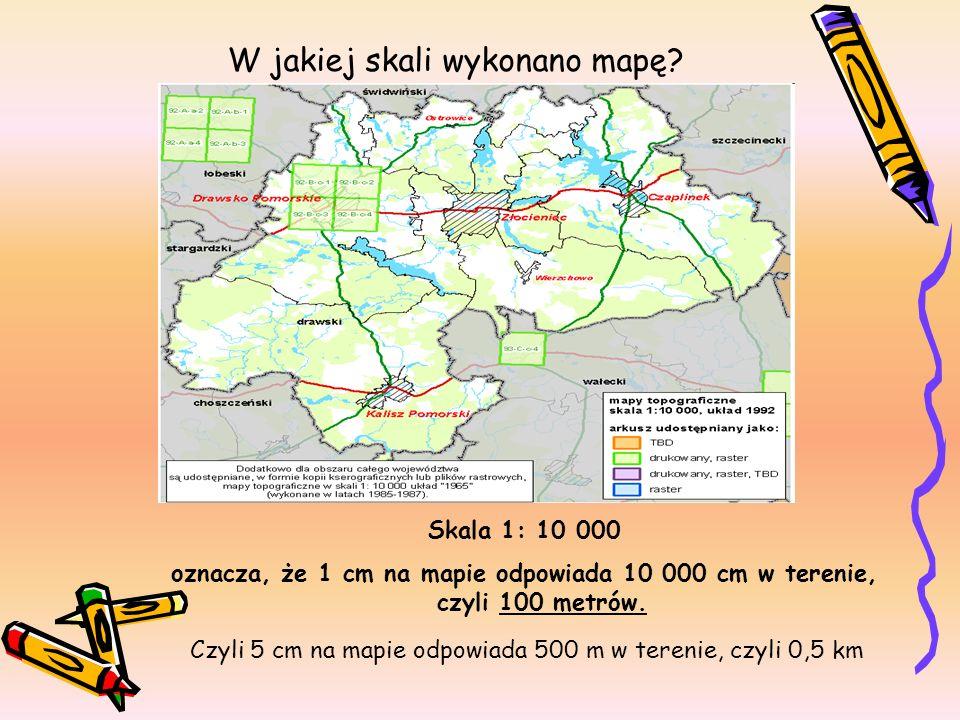 W jakiej skali wykonano mapę? Skala 1: 10 000 oznacza, że 1 cm na mapie odpowiada 10 000 cm w terenie, czyli 100 metrów. Czyli 5 cm na mapie odpowiada
