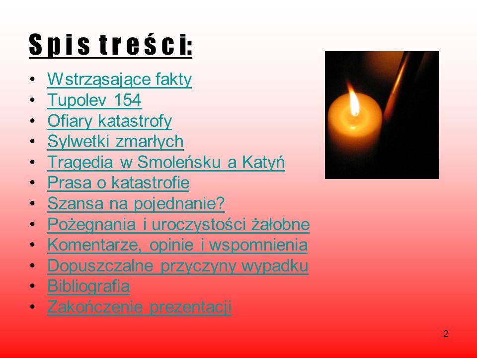 2 S p i s t r e ś c i: Wstrząsające fakty Tupolev 154 Ofiary katastrofy Sylwetki zmarłych Tragedia w Smoleńsku a Katyń Prasa o katastrofie Szansa na p
