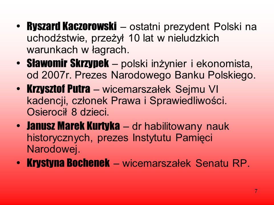 7 Ryszard Kaczorowski – ostatni prezydent Polski na uchodźstwie, przeżył 10 lat w nieludzkich warunkach w łagrach. Sławomir Skrzypek – polski inżynier