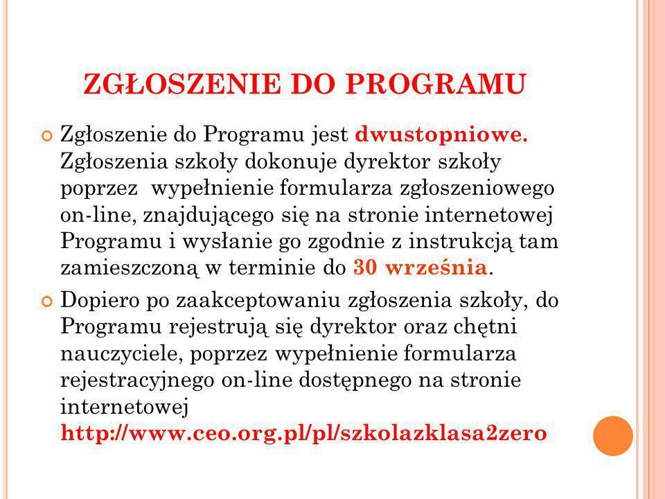 ZGŁOSZENIE DO PROGRAMU Zgłoszenie do Programu jest dwustopniowe.