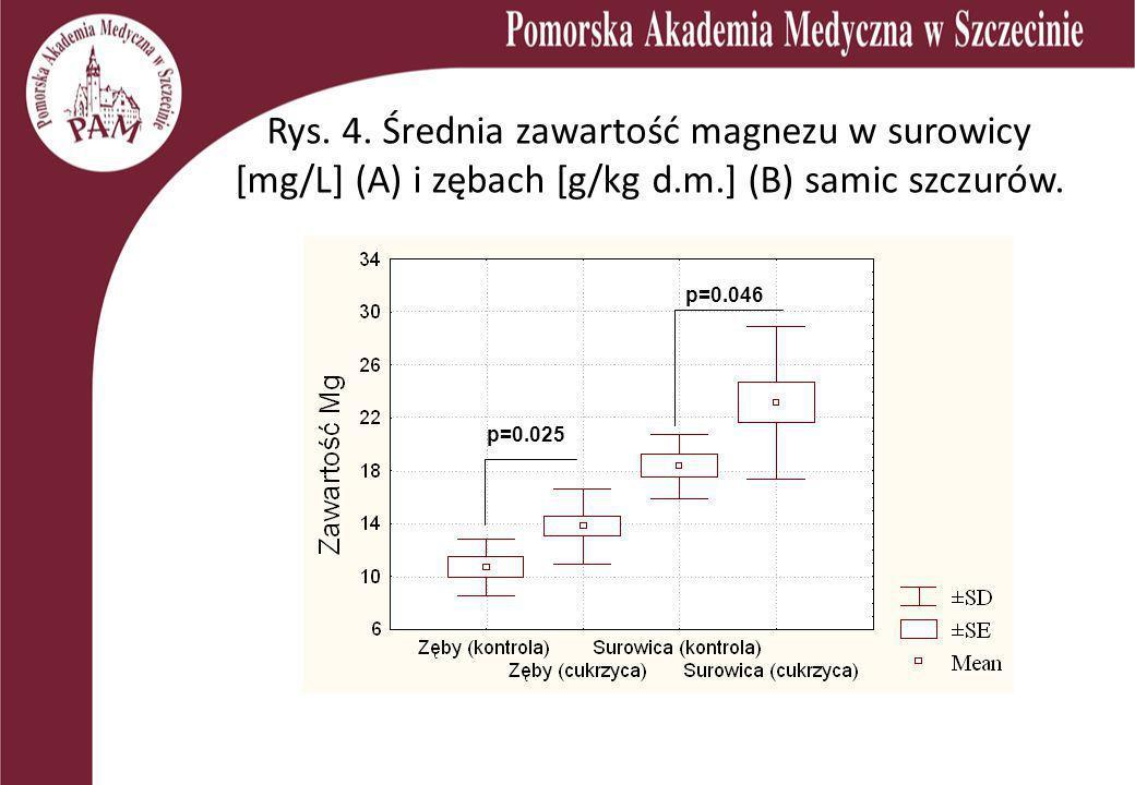Rys. 4. Średnia zawartość magnezu w surowicy [mg/L] (A) i zębach [g/kg d.m.] (B) samic szczurów. p=0.046 p=0.025
