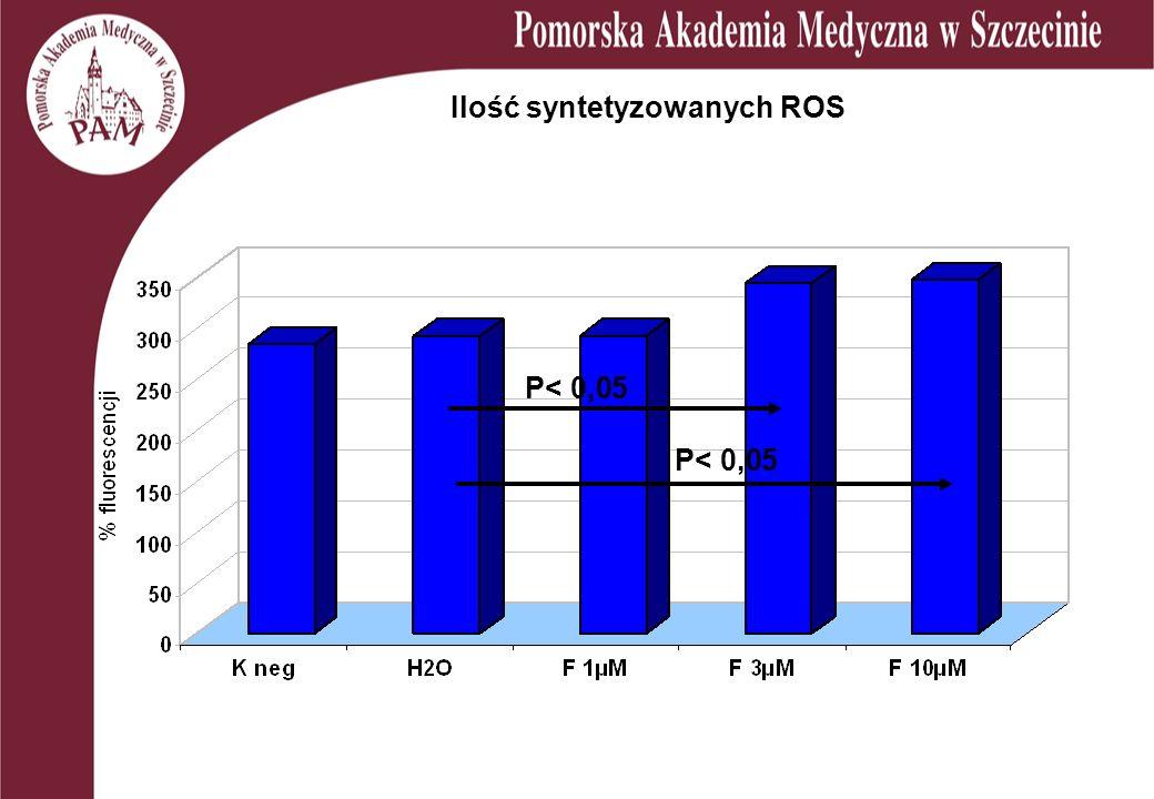 Ilość syntetyzowanych ROS P< 0,05