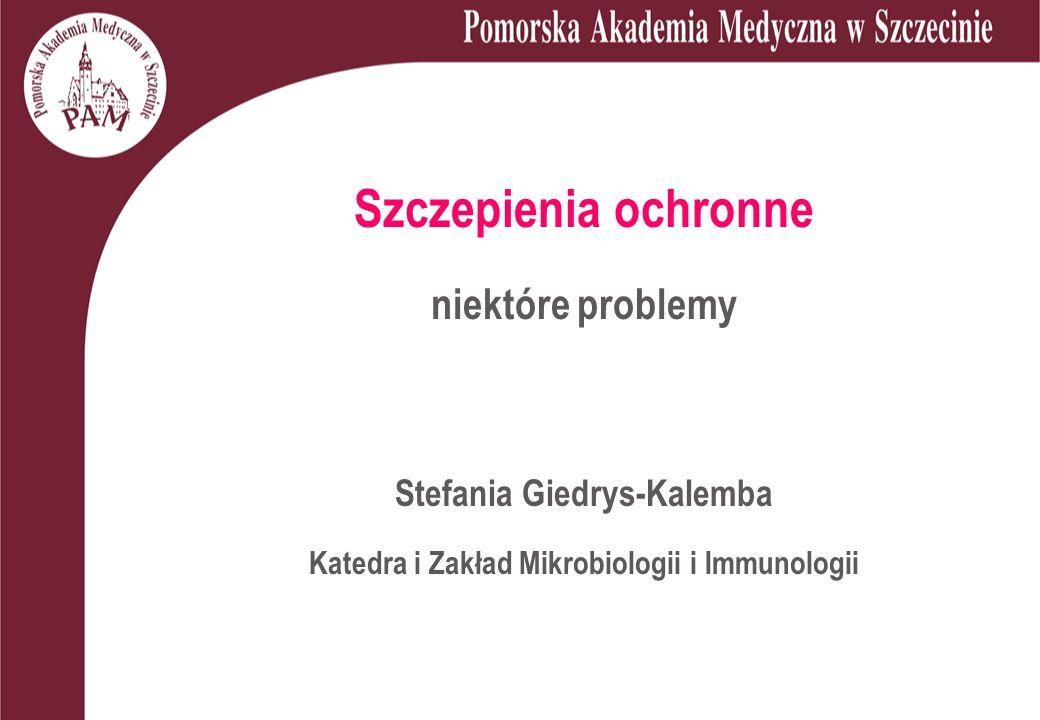 Szczepienia ochronne niektóre problemy Stefania Giedrys-Kalemba Katedra i Zakład Mikrobiologii i Immunologii