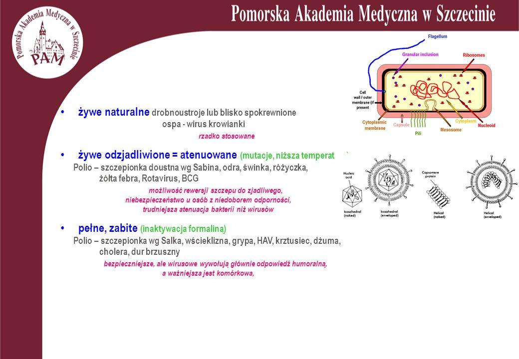 żywe naturalne drobnoustroje lub blisko spokrewnione ospa - wirus krowianki rzadko stosowane żywe odzjadliwione = atenuowane (mutacje, niższa temperatura) Polio – szczepionka doustna wg Sabina, odra, świnka, różyczka, żółta febra, Rotavirus, BCG możliwość rewersji szczepu do zjadliwego, niebezpieczeństwo u osób z niedoborem odporności, trudniejsza atenuacja bakterii niż wirusów pełne, zabite (inaktywacja formaliną) Polio – szczepionka wg Salka, wścieklizna, grypa, HAV, krztusiec, dżuma, cholera, dur brzuszny bezpieczniejsze, ale wirusowe wywołują głównie odpowiedź humoralną, a ważniejsza jest komórkowa,