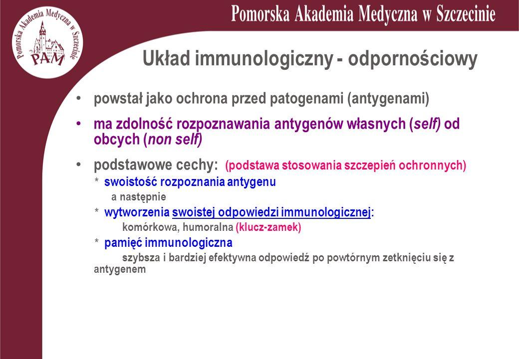 Układ immunologiczny - odpornościowy powstał jako ochrona przed patogenami (antygenami) ma zdolność rozpoznawania antygenów własnych ( self) od obcych