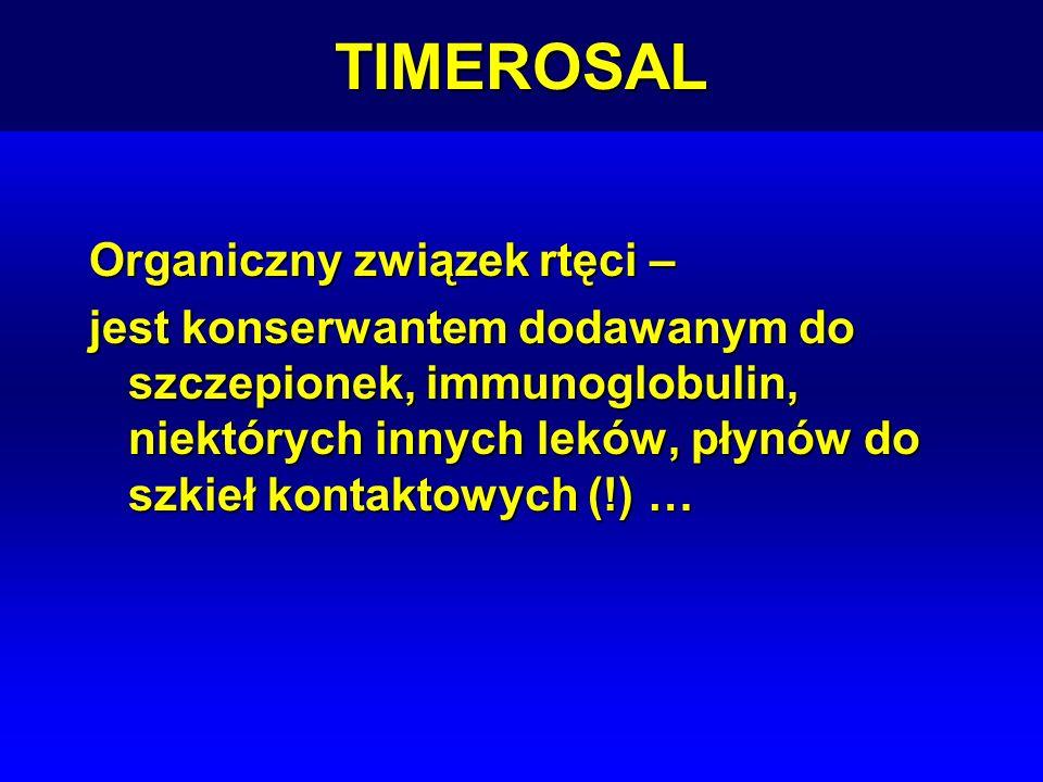 TIMEROSAL Organiczny związek rtęci – jest konserwantem dodawanym do szczepionek, immunoglobulin, niektórych innych leków, płynów do szkieł kontaktowyc