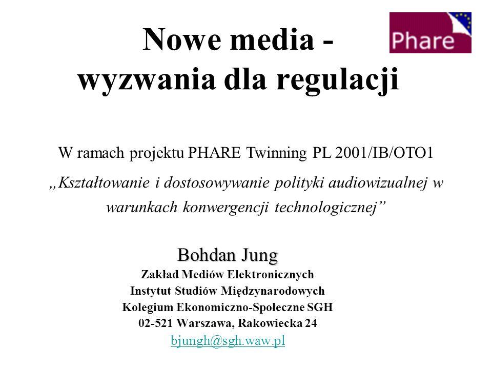 Nowe media - wyzwania dla regulacji Bohdan Jung Zakład Mediów Elektronicznych Instytut Studiów Międzynarodowych Kolegium Ekonomiczno-Społeczne SGH 02-