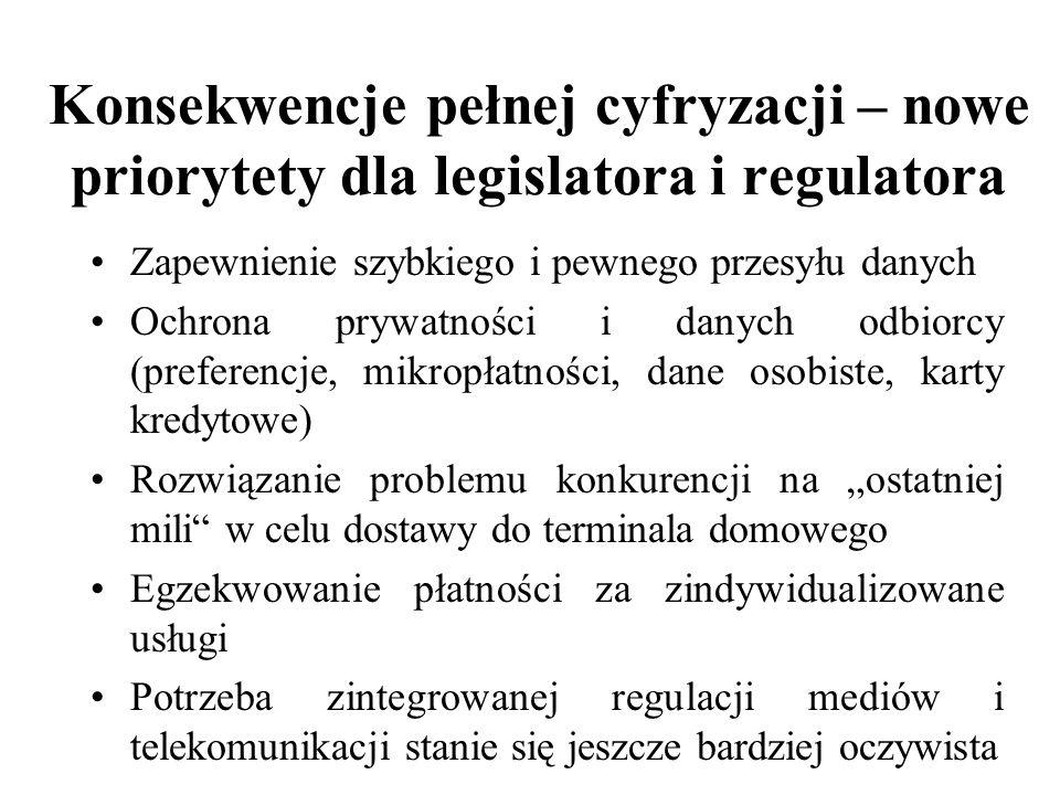 Konsekwencje pełnej cyfryzacji – nowe priorytety dla legislatora i regulatora Zapewnienie szybkiego i pewnego przesyłu danych Ochrona prywatności i da
