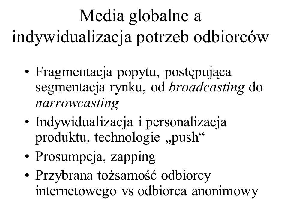 Media globalne a indywidualizacja potrzeb odbiorców Fragmentacja popytu, postępująca segmentacja rynku, od broadcasting do narrowcasting Indywidualiza