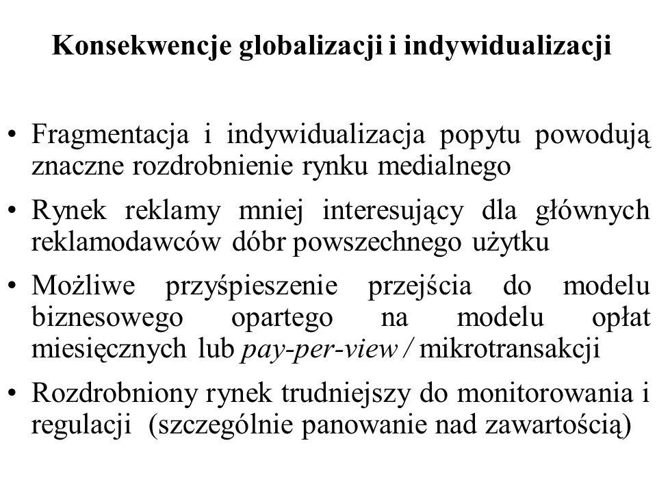 Konsekwencje globalizacji i indywidualizacji Fragmentacja i indywidualizacja popytu powodują znaczne rozdrobnienie rynku medialnego Rynek reklamy mnie