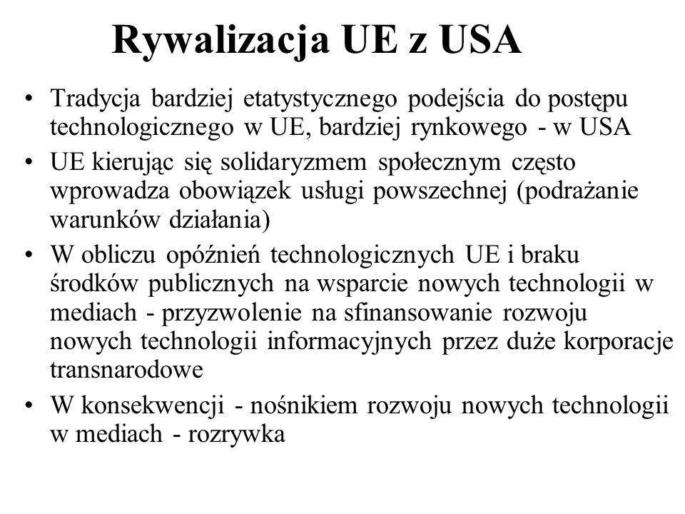 Rywalizacja UE z USA Tradycja bardziej etatystycznego podejścia do postępu technologicznego w UE, bardziej rynkowego - w USA UE kierując się solidaryz