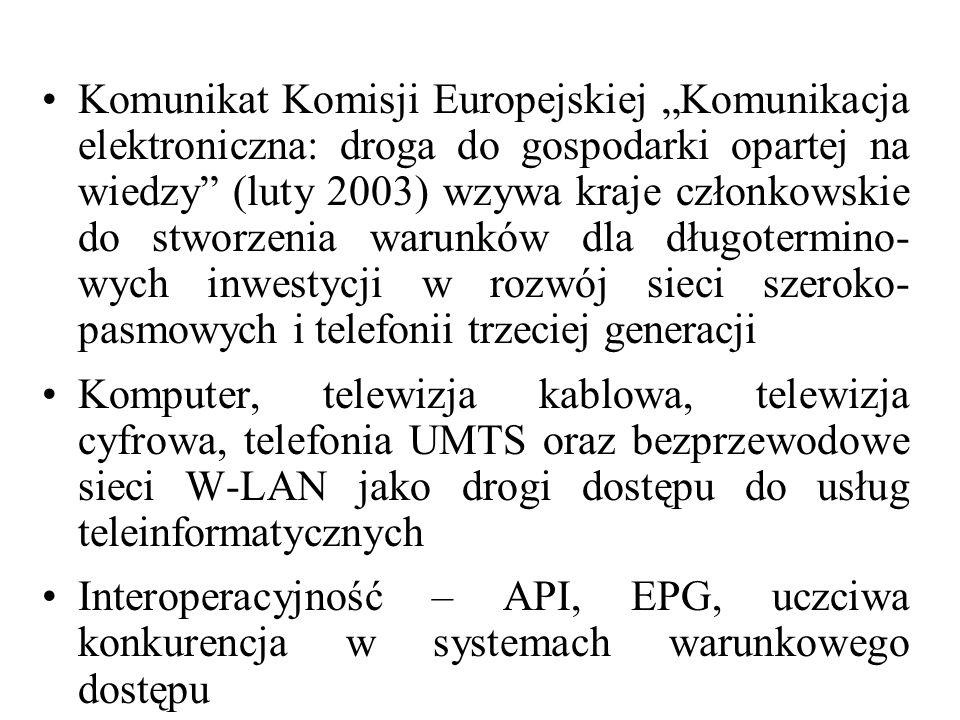 Komunikat Komisji Europejskiej Komunikacja elektroniczna: droga do gospodarki opartej na wiedzy (luty 2003) wzywa kraje członkowskie do stworzenia war
