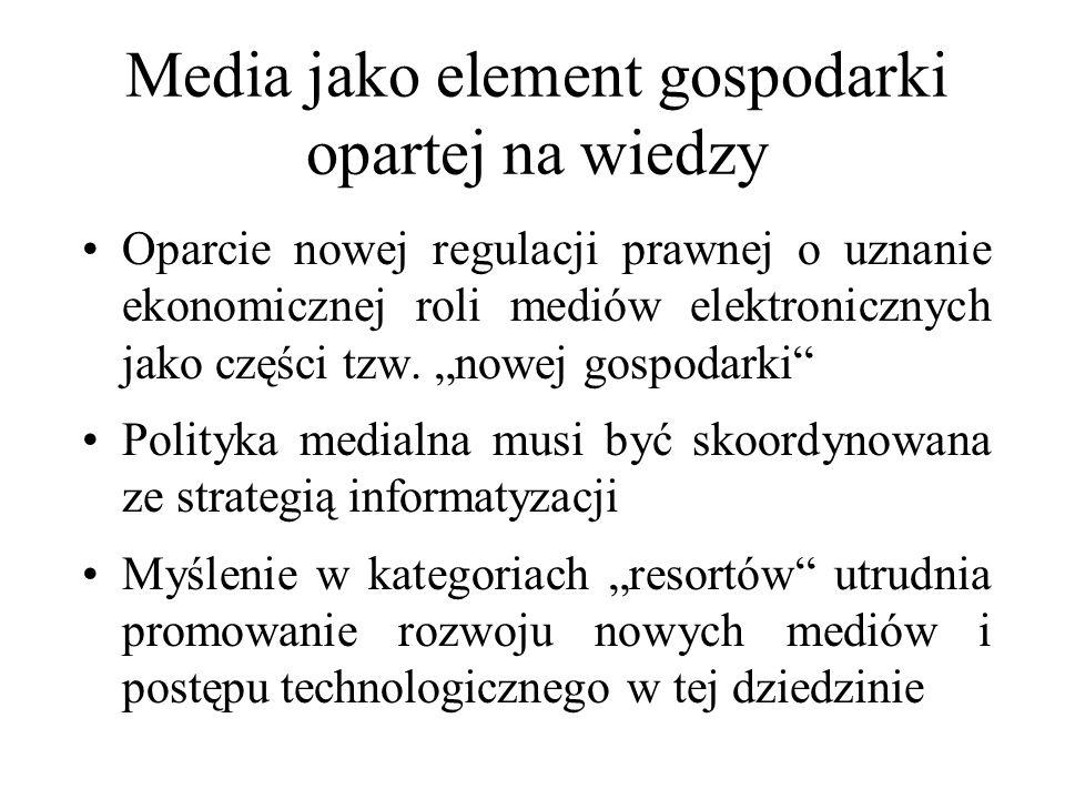 Media jako element gospodarki opartej na wiedzy Oparcie nowej regulacji prawnej o uznanie ekonomicznej roli mediów elektronicznych jako części tzw. no