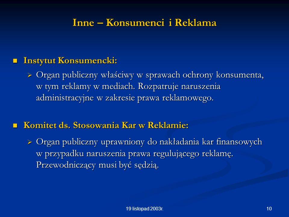 1019 listopad 2003r. Inne – Konsumenci i Reklama Instytut Konsumencki: Instytut Konsumencki: Organ publiczny właściwy w sprawach ochrony konsumenta, w