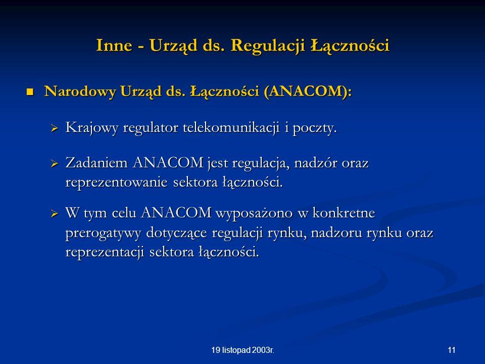 1119 listopad 2003r. Inne - Urząd ds. Regulacji Łączności Narodowy Urząd ds. Łączności (ANACOM): Narodowy Urząd ds. Łączności (ANACOM): Krajowy regula