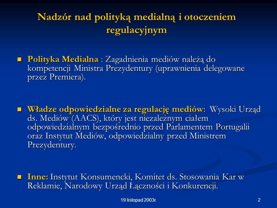219 listopad 2003r. Nadzór nad polityką medialną i otoczeniem regulacyjnym Polityka Medialna : Zagadnienia mediów należą do kompetencji Ministra Prezy