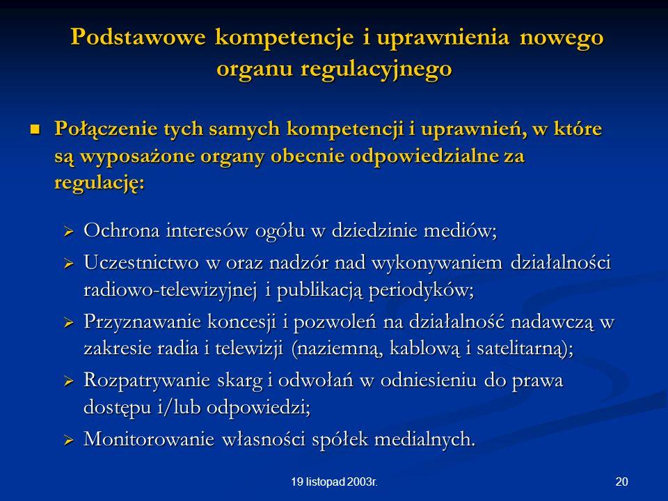 2019 listopad 2003r. Podstawowe kompetencje i uprawnienia nowego organu regulacyjnego Podstawowe kompetencje i uprawnienia nowego organu regulacyjnego