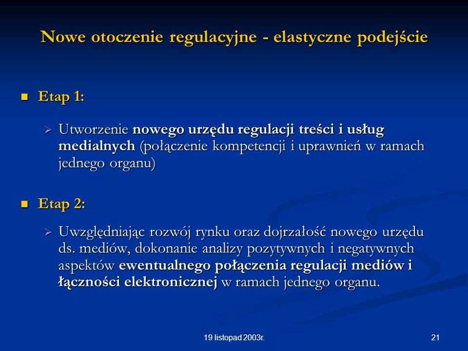 2119 listopad 2003r. Nowe otoczenie regulacyjne - elastyczne podejście Etap 1: Etap 1: Utworzenie nowego urzędu regulacji treści i usług medialnych (p