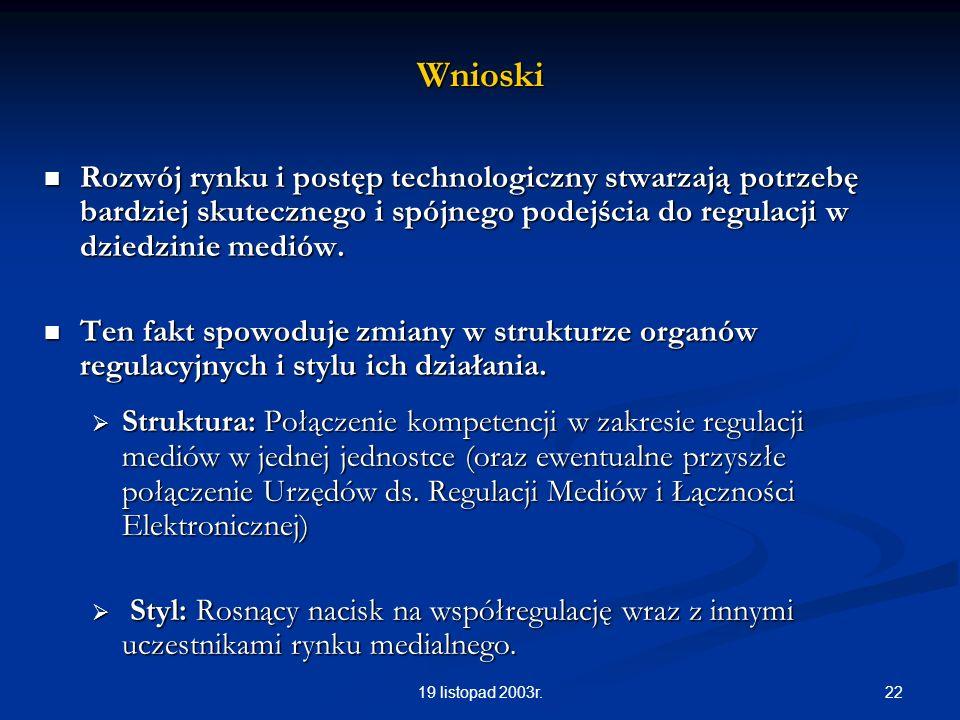 2219 listopad 2003r.Wnioski Rozwój rynku i postęp technologiczny stwarzają potrzebę bardziej skutecznego i spójnego podejścia do regulacji w dziedzini