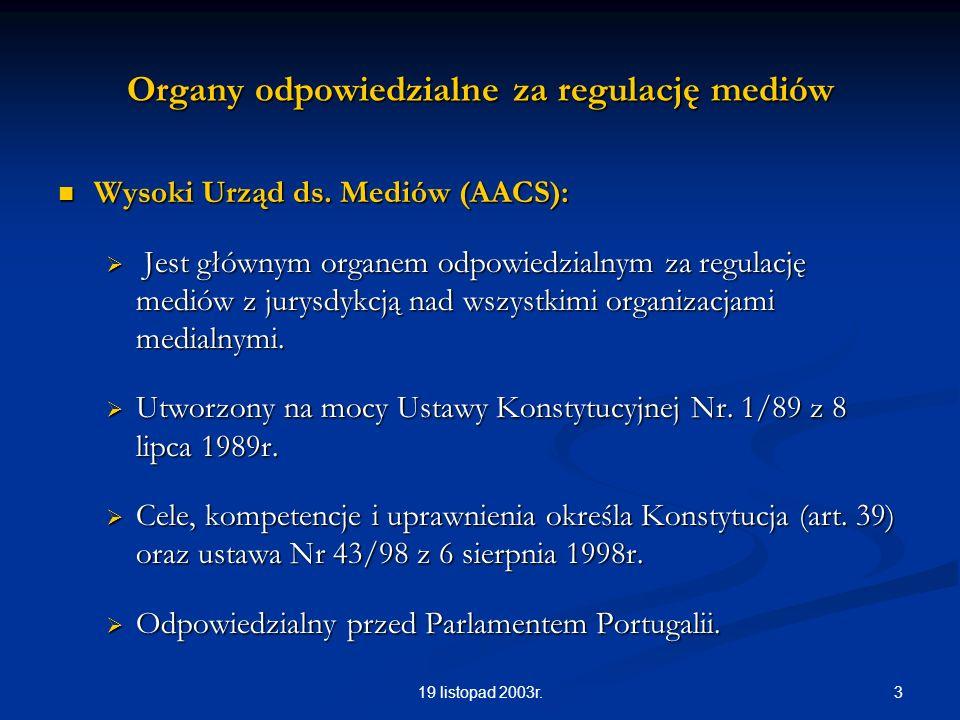 319 listopad 2003r. Organy odpowiedzialne za regulację mediów Wysoki Urząd ds. Mediów (AACS): Wysoki Urząd ds. Mediów (AACS): Jest głównym organem odp