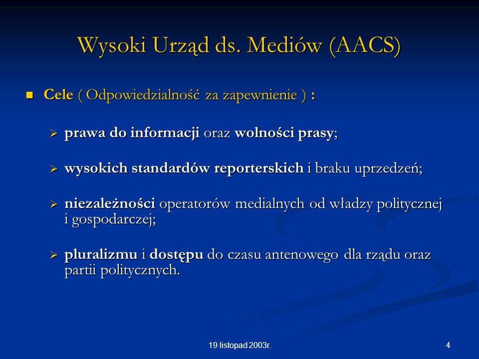 419 listopad 2003r. Wysoki Urząd ds. Mediów (AACS) Cele ( Odpowiedzialność za zapewnienie ) : Cele ( Odpowiedzialność za zapewnienie ) : prawa do info