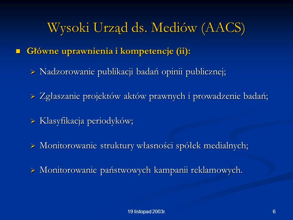 619 listopad 2003r. Wysoki Urząd ds. Mediów (AACS) Główne uprawnienia i kompetencje (ii): Główne uprawnienia i kompetencje (ii): Nadzorowanie publikac