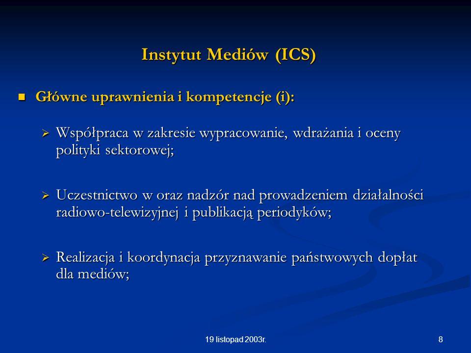 819 listopad 2003r. Instytut Mediów (ICS) Główne uprawnienia i kompetencje (i): Główne uprawnienia i kompetencje (i): Współpraca w zakresie wypracowan