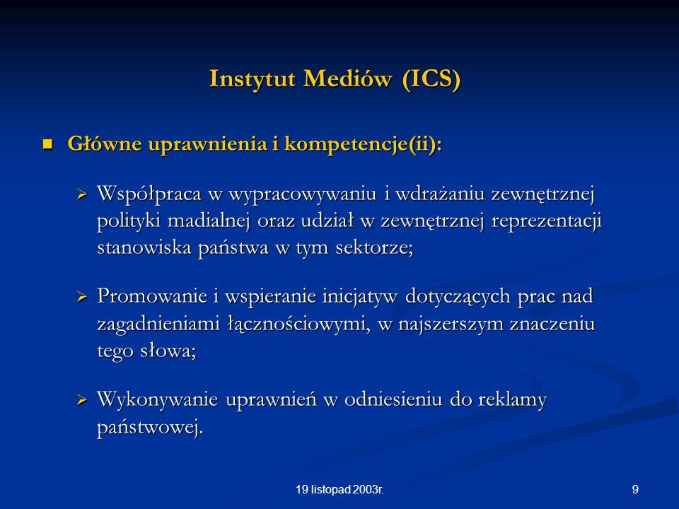 919 listopad 2003r. Instytut Mediów (ICS) Główne uprawnienia i kompetencje(ii): Główne uprawnienia i kompetencje(ii): Współpraca w wypracowywaniu i wd