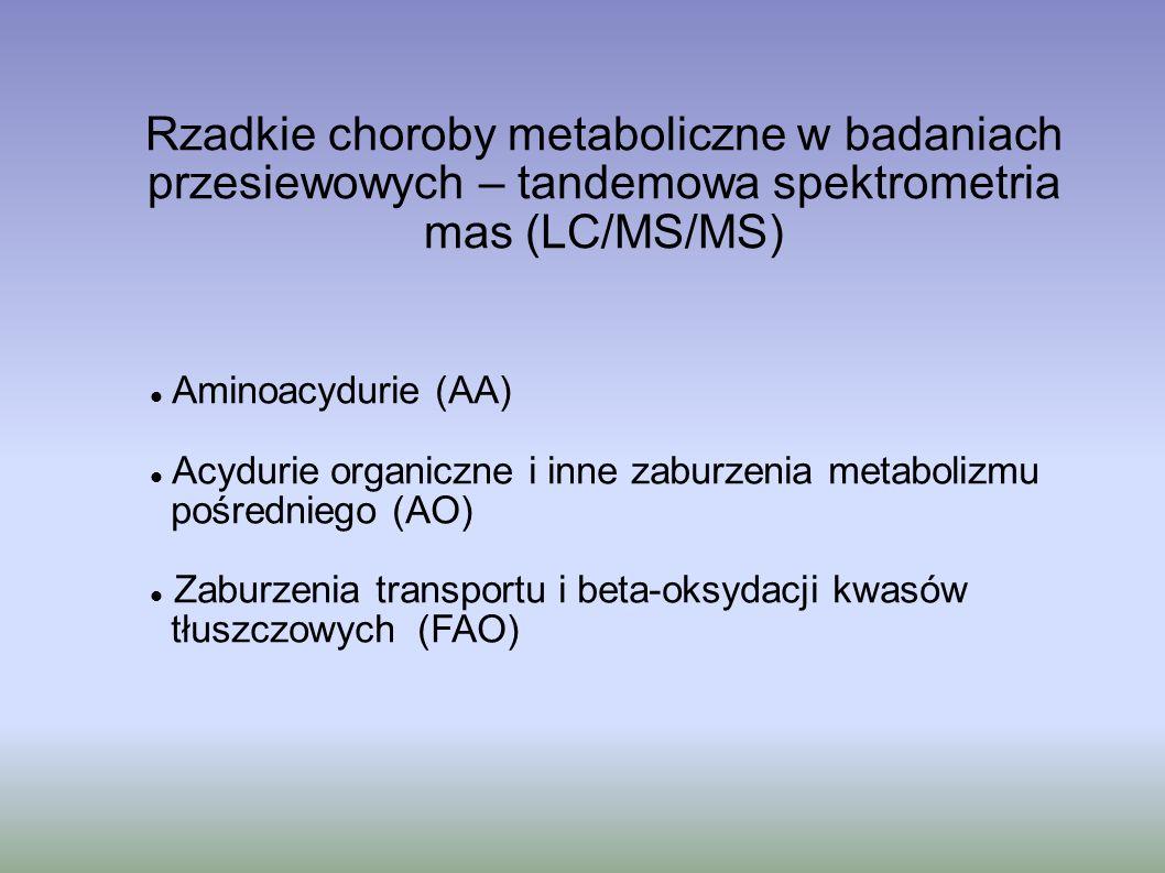 Rzadkie choroby metaboliczne w badaniach przesiewowych – tandemowa spektrometria mas (LC/MS/MS) Aminoacydurie (AA) Acydurie organiczne i inne zaburzen