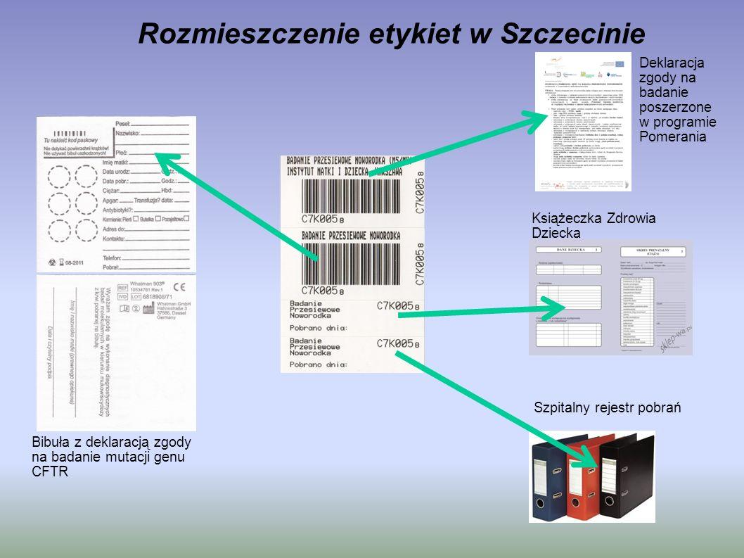 Rozmieszczenie etykiet w Szczecinie Bibuła z deklaracją zgody na badanie mutacji genu CFTR Deklaracja zgody na badanie poszerzone w programie Pomerani