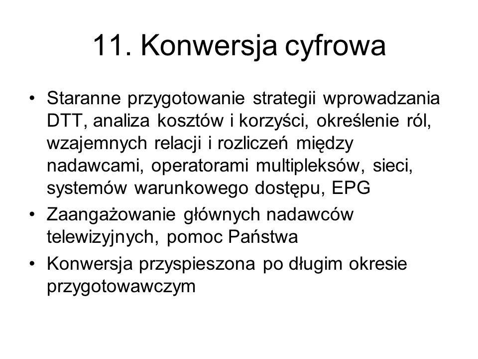 11. Konwersja cyfrowa Staranne przygotowanie strategii wprowadzania DTT, analiza kosztów i korzyści, określenie ról, wzajemnych relacji i rozliczeń mi
