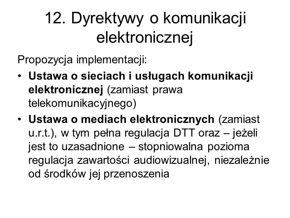 12. Dyrektywy o komunikacji elektronicznej Propozycja implementacji: Ustawa o sieciach i usługach komunikacji elektronicznej (zamiast prawa telekomuni