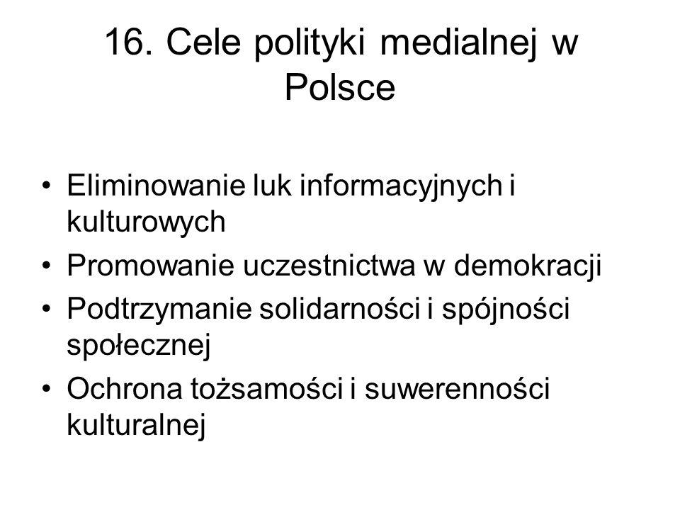 17. Polskie stanowisko w kwestii nowelizacji dyrektywy O telewizji bez granic W przygotowaniu