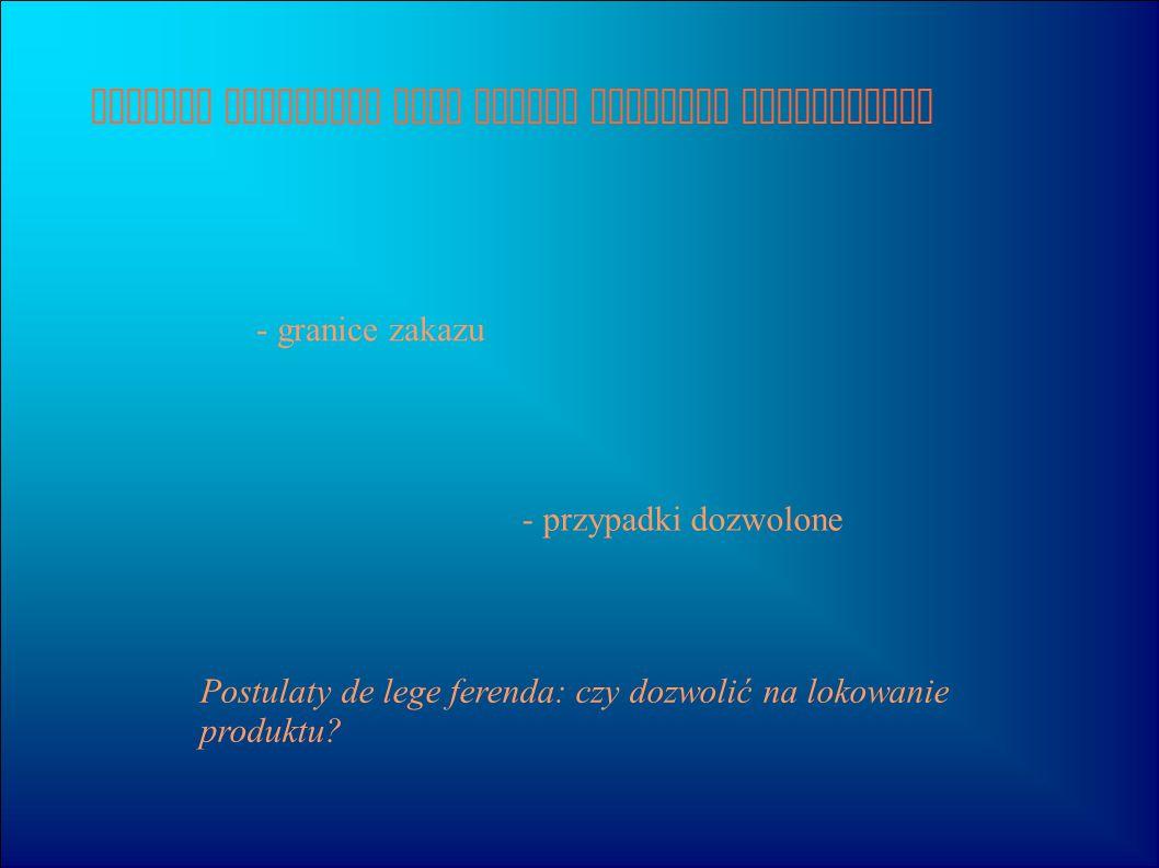 Produkt placement jako rodzaj przekazu reklamowego - granice zakazu Postulaty de lege ferenda: czy dozwolić na lokowanie produktu? - przypadki dozwolo