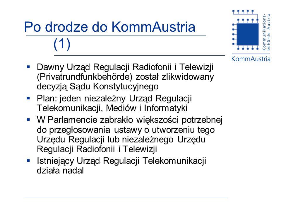 Po drodze do KommAustria (1) Dawny Urząd Regulacji Radiofonii i Telewizji (Privatrundfunkbehörde) został zlikwidowany decyzją Sądu Konstytucyjnego Plan: jeden niezależny Urząd Regulacji Telekomunikacji, Mediów i Informatyki W Parlamencie zabrakło większości potrzebnej do przegłosowania ustawy o utworzeniu tego Urzędu Regulacji lub niezależnego Urzędu Regulacji Radiofonii i Telewizji Istniejący Urząd Regulacji Telekomunikacji działa nadal