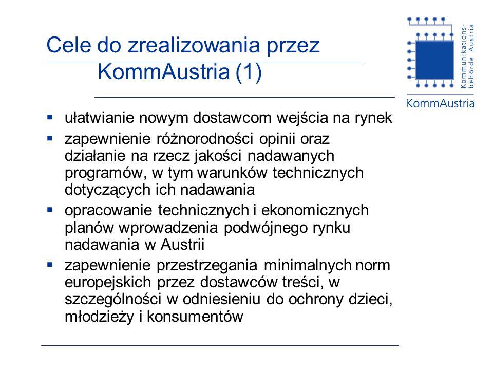 Cele do zrealizowania przez KommAustria (1) ułatwianie nowym dostawcom wejścia na rynek zapewnienie różnorodności opinii oraz działanie na rzecz jakości nadawanych programów, w tym warunków technicznych dotyczących ich nadawania opracowanie technicznych i ekonomicznych planów wprowadzenia podwójnego rynku nadawania w Austrii zapewnienie przestrzegania minimalnych norm europejskich przez dostawców treści, w szczególności w odniesieniu do ochrony dzieci, młodzieży i konsumentów