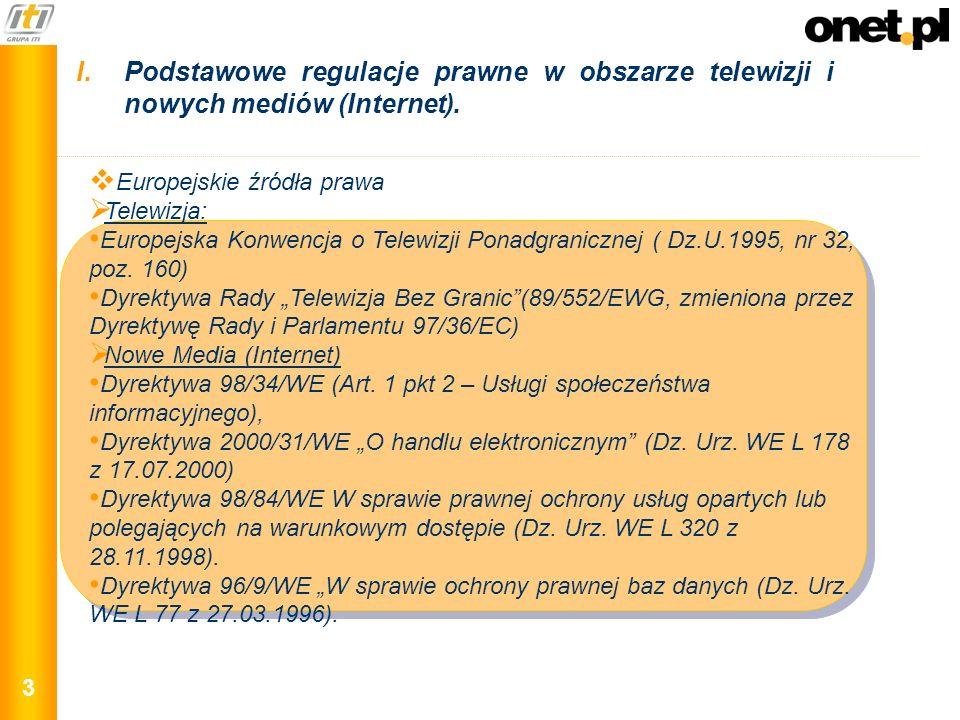 3 Europejskie źródła prawa Telewizja: Europejska Konwencja o Telewizji Ponadgranicznej ( Dz.U.1995, nr 32, poz. 160) Dyrektywa Rady Telewizja Bez Gran