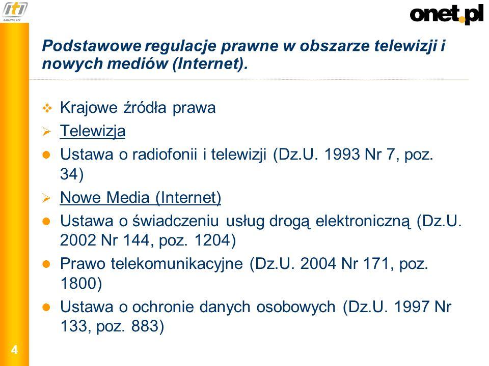 4 Podstawowe regulacje prawne w obszarze telewizji i nowych mediów (Internet). Krajowe źródła prawa Telewizja Ustawa o radiofonii i telewizji (Dz.U. 1