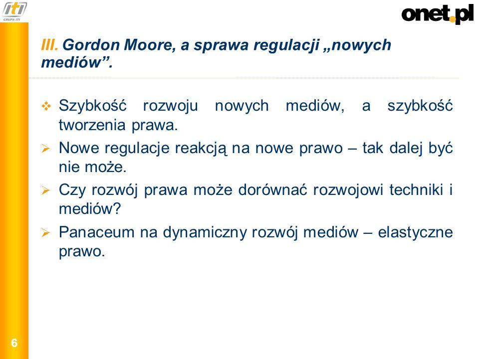 6 III. Gordon Moore, a sprawa regulacji nowych mediów. Szybkość rozwoju nowych mediów, a szybkość tworzenia prawa. Nowe regulacje reakcją na nowe praw