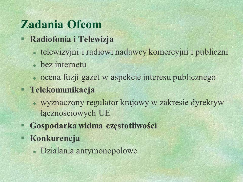 Zadania Ofcom §Radiofonia i Telewizja l telewizyjni i radiowi nadawcy komercyjni i publiczni l bez internetu l ocena fuzji gazet w aspekcie interesu p