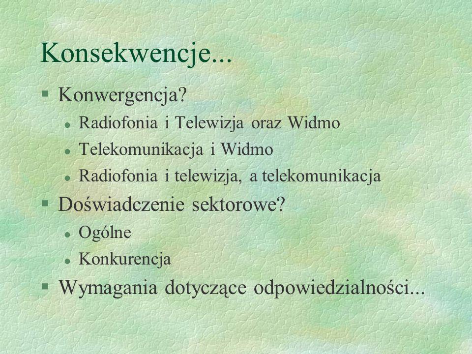 Konsekwencje... §Konwergencja? l Radiofonia i Telewizja oraz Widmo l Telekomunikacja i Widmo l Radiofonia i telewizja, a telekomunikacja §Doświadczeni