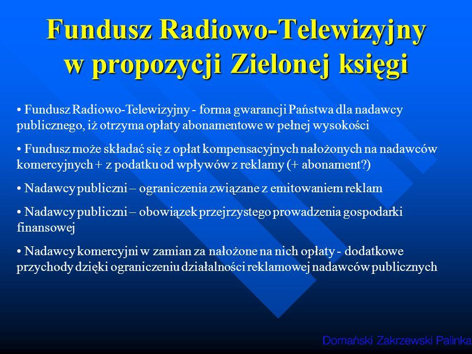 Fundusz Radiowo-Telewizyjny w propozycji Zielonej księgi Fundusz Radiowo-Telewizyjny - forma gwarancji Państwa dla nadawcy publicznego, iż otrzyma opłaty abonamentowe w pełnej wysokości Fundusz może składać się z opłat kompensacyjnych nałożonych na nadawców komercyjnych + z podatku od wpływów z reklamy (+ abonament?) Nadawcy publiczni – ograniczenia związane z emitowaniem reklam Nadawcy publiczni – obowiązek przejrzystego prowadzenia gospodarki finansowej Nadawcy komercyjni w zamian za nałożone na nich opłaty - dodatkowe przychody dzięki ograniczeniu działalności reklamowej nadawców publicznych