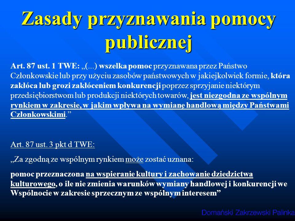 Zasady przyznawania pomocy publicznej Art.87 ust.