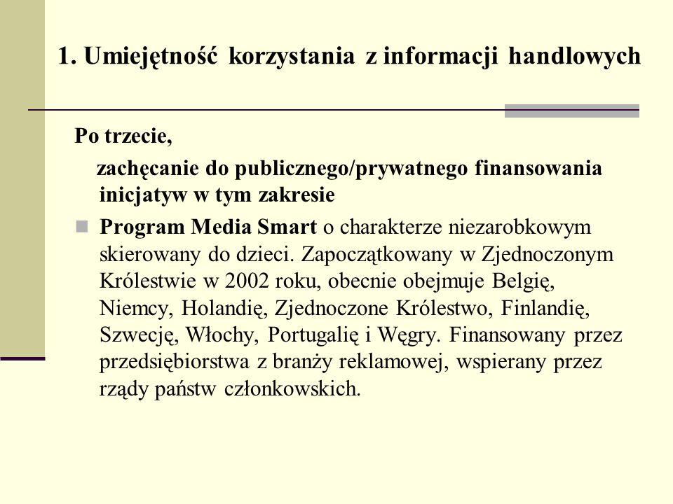 1. Umiejętność korzystania z informacji handlowych Po trzecie, zachęcanie do publicznego/prywatnego finansowania inicjatyw w tym zakresie Program Medi