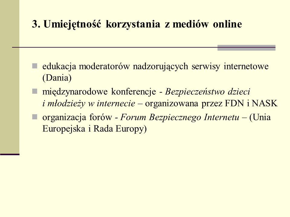 3. Umiejętność korzystania z mediów online edukacja moderatorów nadzorujących serwisy internetowe (Dania) międzynarodowe konferencje - Bezpieczeństwo